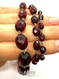 Antique Faceted Cherry Amber Bakelite Graduated Bead Rolled Gold Necklace 28