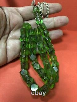 Antique Faceted Green Damari Cherry Amber bakelite islamic prayer 37 beads R1