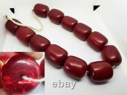 Antique Faturan Art Deco Cherry Amber Bakelite Veins Damari Beads Necklace 336gr