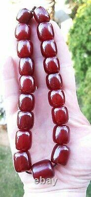 Antique Faturan Cherry Amber Bakelite Beads Damari/Veins 79 Grams