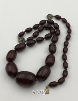 Antique Faturan Cherry Amber Bakelite Graduated Bracelet & Necklace 59 Grams