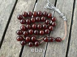 Antique Faturan Cherry Amber Bakelite Islamic Ottoman Misbaha Prayer Beads 55gr
