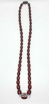 Antique Faturan Cherry Amber Bakelite Necklace 97 Grams