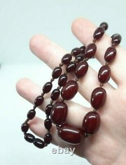 Antique Faturan Cherry Amber Bakelite Necklace Beads Marbled 26.5 Grams
