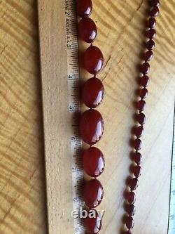 Antique Faturan Cherry Amber Bakelite Necklace Heavy 78g MINTY 41 Long XXL