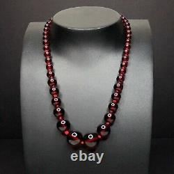 Antique Faturan Cherry Amber Necklace Graduated Bead 19 Tested 24g Red Bakelite
