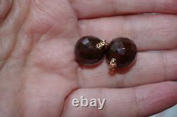Antique Genuine 14k Gold 11mm Faceted Cherry Amber Earrings Drop Jackets