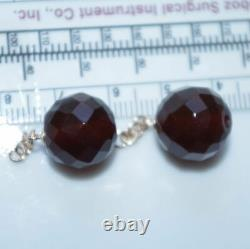 Antique Genuine 14k Gold Rose Coral &faceted Cherry Amber Earrings Drop Jackets