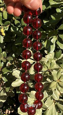 Antique Genuine Cherry Amber Bakelite Faturan Round Beads Necklace 64.6 Grams