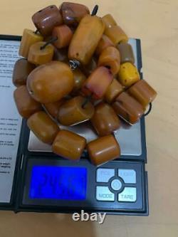 Antique German Cherry Amber vines damari Faturan Bakelite big Prayer beads 245 g