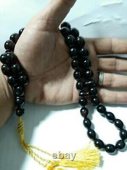 Antique German Faturan Bakelite cherry amber PRAYER new cut Tasbih BEADS 69.5 Gr