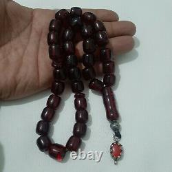 Antique German genuine Faturan cherry amber bakelite Prayer beads 70 gr