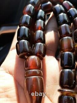 Antique German genuine Faturan cherry amber bakelite Prayer beads 80 gr