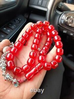 Antique German genuine Faturan cherry amber bakelite Prayer beads 86gr