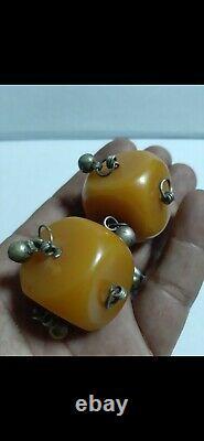 Antique German misky Bakelite cherry amber faturan cube BEADS 88 Gram