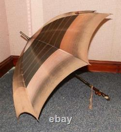 Antique Kendall Ladies Umbrella With Rustic Branch Handle With Amber Cherries