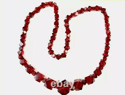 Antique Large Art Deco Cherry Amber Faceted Bakelite Graduated Bead Necklace 82g