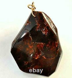 Antique Large Untreated Natural Cherry Amber Pendant with 14K Solid Gold Bail