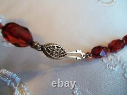 Antique Long Large 27 inch Cherry Amber Bakelite Bead Necklace Beautiful 56 gr