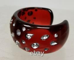 Antique Lucite Faux Cherry Amber Bakelite Rhinestone Bracelet Bangle