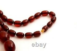 Antique Marbled Cherry Amber Bakelite Beads Necklace 69g