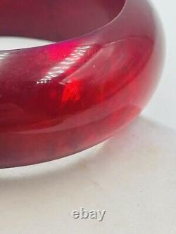 Antique Natural Red Cherry Amber Large Bangle Bracelet 72.2 Grams