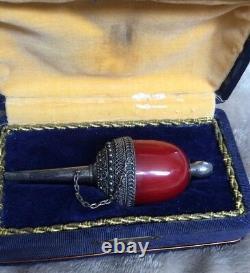 Antique OTTOMAN Hookah Mouthpiece Red Amber Bakelite Silver Box Turkey Nargile