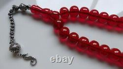 Antique Old Red Cherry Amber Kehribar Sikma Faturan Prayer MisbahTesbih 63 gram