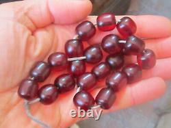 Antique Ottoman Cherry Amber Bakelite Atesh Kehribar Prayer Beads 57gr. 1900's