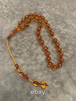 Antique Ottoman Cherry Amber Faturan Misbaha Tesbih Rosary Sandalous Kabaloi