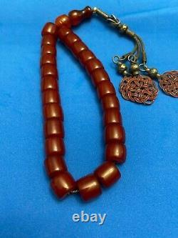 Antique Ottoman Cherry Amber Faturan Prayer Beads Misbaha Rosary Sandalous