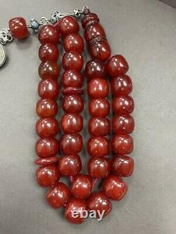 Antique Ottoman Damari Faturan cherry amber bakelite islamic prayer beads 122g