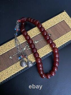 Antique Ottoman Faturan Cherry Amber Misbaha Tasbih Large Prayer Beads