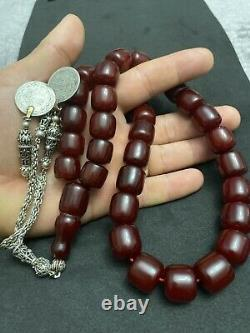 Antique Ottoman Faturan German Cherry Amber Sandalous Misbaha Prayerbeads Rosary