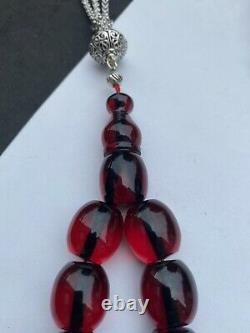 Antique Ottoman Faturan Rosary Cherry Fire Amber Bakelite Prayer Beads Original