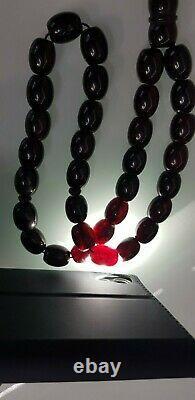 Antique Ottoman Turkish Islamic Bakelite Cherry Amber Prayer Beads 66.8 gr