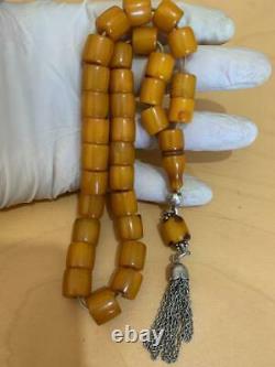 Antique Ottomani Cherry Amber vines damari Faturan Bakelite Prayer beads 61 g