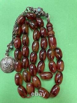 Antique Peeled Damari Faturan cherry amber bakelite islamic prayer beads 31g R1