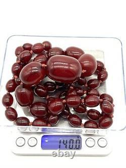 Antique Rare Cherry Amber Faturan Marbled Bakelite Barrel Bead Necklace 42 140g