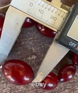 Antique Red Cherry Amber Bakelite Graduated Beads Necklace 70 grams, tested
