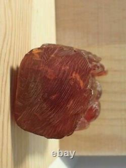 Antique Red Cherry Amber Carving of the Chinese Deity of Longevity (SHOU)