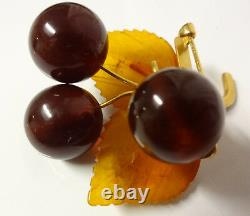 Antique Russian Natural Baltic Stone Cognac Cherry Amber Pin Brooch Untreated