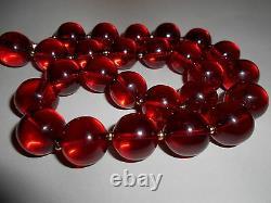 Antique Stunning Genuine Cherry Amber Bakelite Necklace Round Beads 76.6 Grams