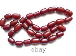 Antique Veined Cherry Amber Bakelite Faturan 33 Prayer Beads 113 grams