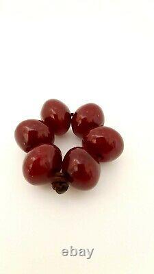 Antique Very Rare Shape Faturan Cherry Amber Bakelite Beads Damrari/Veins 11.1 G