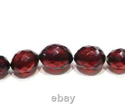 Antique Victorian Faceted Cherry Amber Graduated Necklace 30