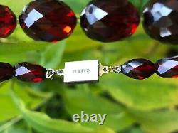 Antique Victorian Genuine Cherry Amber Faceted Beads Graduated Necklace