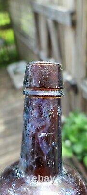 Antique Vin De Coca Christiana Bottle Wine and Cocaine Blown Red Amber Virginia