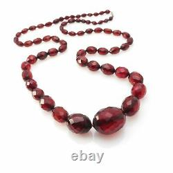 Antique Vintage Art Deco Cherry Amber Faceted Graduated Bead Necklace 33 L 50Gr