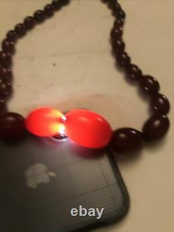 Antique Vintage Cherry Amber Bakelite Oval Beads Necklace 57 grams 21Long